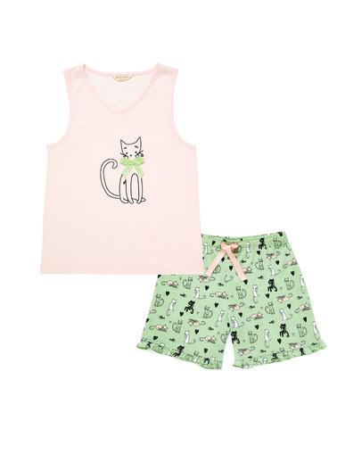 Katia & Bony Pink Cat Junior Kız Çocuk Şort Set  Yeşil